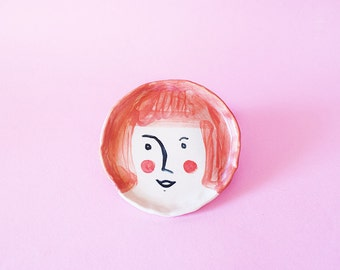 Pink Girl Round Ceramic Plate, Pink Girl Round Hand-Built Pottery Plate, Pink Girl Round Trinket Dish
