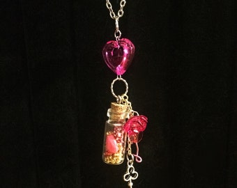 Love Potion Vial Necklace with Charms and Beads • Vial Pendant Filled with Beads and Hand-Beaded Charms on Silver Chain