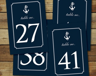 Nautical table numbers 26 THROUGH 50 - nautical wedding table numbers - navy anchor table numbers - instant download