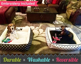 Minky Dog Beds | Bolster Dog Bed -  Custom Dog Bed - Choose your fabric, size, and font to personalize you bed! Pet Bed | Soft Dog Bed | Dog