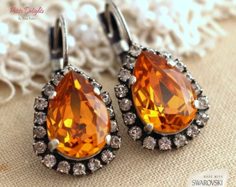 Topaz Earrings, Topaz Drop Earrings, Bridal Colorado topaz Drop Earrings, Christams Gift, Bridesmaids Earrings, Swarovski Topaz Earrings