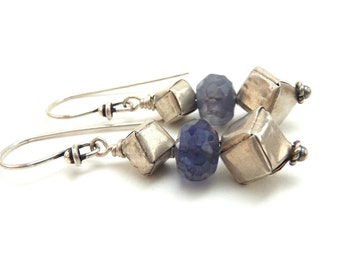 Blue Iolite and Sterling Cube Earrings