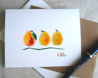 Pears Illustrated Thank You Folded Note Card Set Blank Inside Orchard Card Thinking of You House Warming Keep in Touch