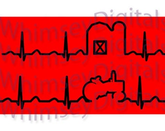 Tractor Heartbeat, Barn Heart Beat, Farming EKG, Digital Download SVG Cut File, Vinyl Cutting Design for Design Space, Studio, DIY