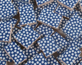 Ceramic Mosaic Tiles - Blue And White Polka Dots Mosaic Tile Pieces - Mosaic Tiles - 40 Pieces - Mosaic Art / Mixed Media Art/Jewelry