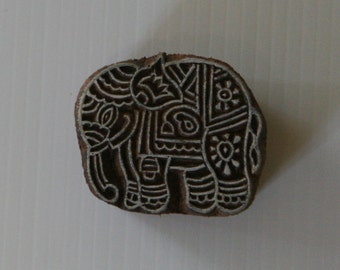 Elephant Stamp - Wood Block Printing Stamp - Hand Carved - India - Small