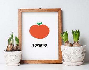 Printable Kitchen Art - Tomato Print - Tomato Poster - 8.5 x 11 PDF Print - Instant Download - Tomato Cut-Out - Modern Tomato PDF Download