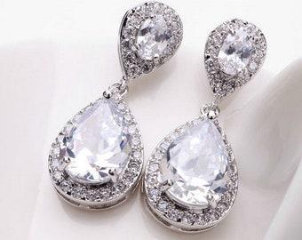Bridal Teardrop Earrings | Bridesmaid Earrings | Wedding Zircon Earrings | Bridal Earrings | Crystal Teardrop Earrings | Prom Earrings