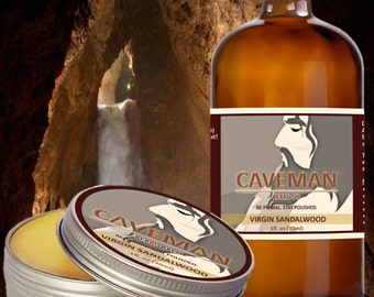 CAVEMAN Beard Care Gift Set - Two Pack - Beard Oil Conditioner and Beard Balm