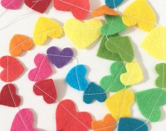 Tiny rainbow hearts felt garland