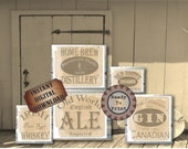 Saloon Crate Labels Set of 5 Steampunk Wild West Saloon Cantina Tavern Wedding Sign Rye Whiskey Bourbon Gin Ale Home Brew Tennessee Bourbon