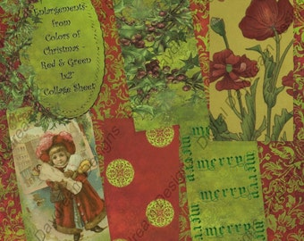 Instant Download Digital Collage Sheet 1 x 2 size - Colors of Christmas, Red and Green