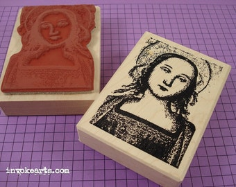 Mary with Halo Stamp / Invoke Arts Collage Rubber Stamps