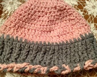 Peach And Gray Messy Mom Bun Hat Hand Crocheted Hat