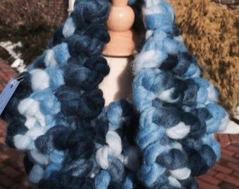 Hand-knit chunky yarn cowl