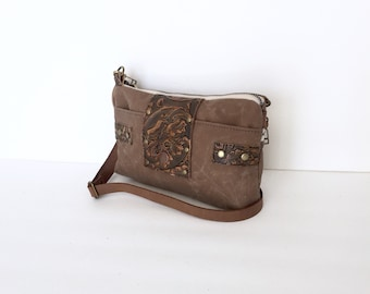 Small Waxed Canvas & Embossed Leather Cross Body Purse, Small Shoulder Bag, Travel Purse