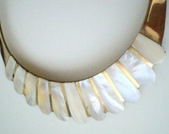 La Creme Vintage Mother of Pearl Teardrop on Goldtone Metal Choker Necklace, Statement, Avant Garde