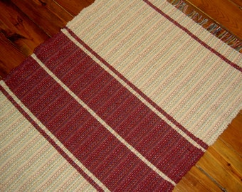 Cream and Cranberry Handwoven Wool Rug - Wool Rug with Bold Design