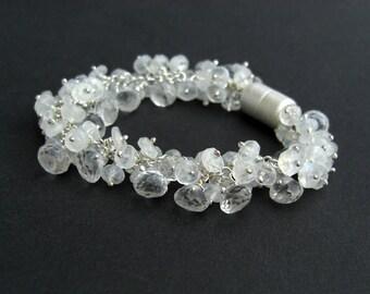 Moonstone Mountain Crystal Bracelet 925 silver, bridal jewelry, white gemstone bracelet, magnetic clasp