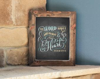Psalm 119:11 - 8x10 Digital Printable Art - KJV Bible Verse - Chalk