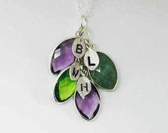 Personalized gift for mom Mothers Necklace Initial Necklace Birthstone gift for her Cascading Necklace Grandma Necklace Family Tree Necklace