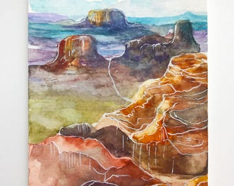 Colorful Canyon, Original Watercolor Painting, 4x6, handmade painting, miniature painting, landscape, watercolor landscape
