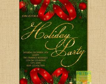 Christmas Party Invitation - Christmas Dinner Invitation - Holiday Party Invi - Company Holiday Party - Company Christmas Party - red Green