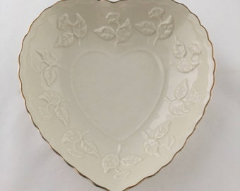 Lovely Heart Shaped Bowl with Gold Painted Rim