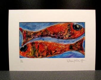 Fish. An original textured and mixed media painting by Suzanne Patterson