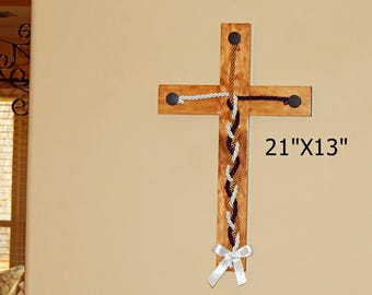 Cross, Rustic Wall Cross, Cord of Three Strands, Unity Braids, Barn Wood Cross, Rustic Decor, Rustic Cross, Hanging Wall Cross, Wooden Cross