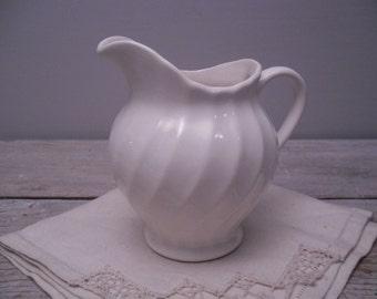 petite white stoneware pitcher / creamer