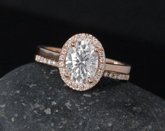 Oval Forever One Colorless Moissanite Engagement Ring - Halo Diamonds - Pave Diamond Wedding Band