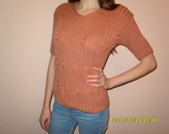 Hand-knitted blouse with short sleeve