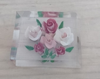 Vintage lucite carved roses brooches