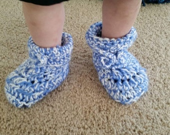 Crochet Boot type slippers! Infant-Adult sizes made to order! 5 dollars (Infant) 7 dollars (Child) 10 dollars (Adult).