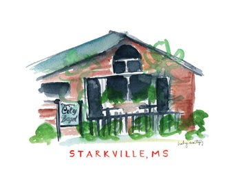 Starkville Mississippi Restaurant Print -- City Bagel Cafe 8 x 10""