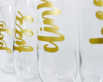 Pop Fizz Clink Cheers Champagne Flutes - Stemless Glass Party Champagne Flutes - Bachelorette Party Champagne Glasses (Set of 4)
