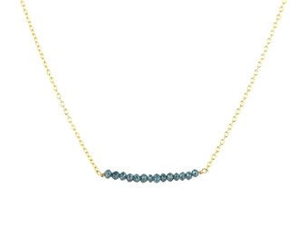 Blue Rustic Diamond Bead Bar Necklace on 14k Solid Gold Chain 2 cm Length