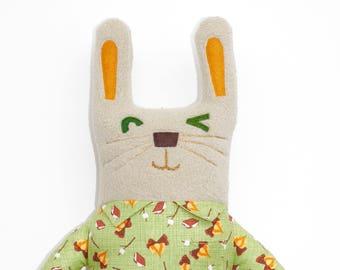 Perry Rabbit Plüsch, Hase, Stuffie, im Taschenformat, Plüschtier, Niedlich, Stofftier, Ooak-Kunst-Puppe, Kaninchen