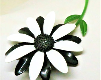 Enamel Brooch - Vintage, Gold Tone, Black, White and Green Enamel Floral Pin
