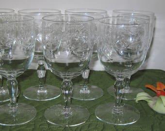 7 Vintage Mid Century Crystal Glass Water Wine Goblets Polished Cut leaf Star Flower Berries Vine Design