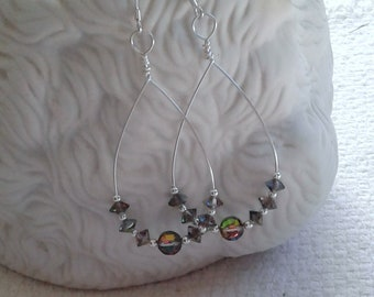Vintage Swarovski Vitrail Crystals and Sterling Silver Wire-Wrapped Handmade Earrings                                   04/18