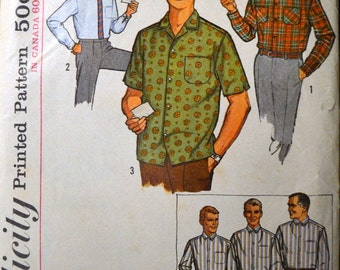Vintage 60's Sewing Pattern Simplicity 5029 Men's Shirts Neck Size 15.5 Complete