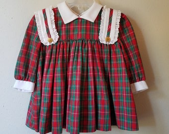 Vintage Girls Red Plaid Dress with Long Sleeves and White Collar and Trim- Size 12- New, never worn- Christmas Dress