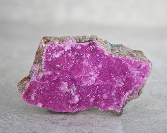 Pink Cobalto Calcite Crystals, Hot Pink Cobalt Calcite Druzy Specimen, Malachite Flecks, Collector Mineral Specimen, Rock Specimen Crystal