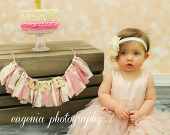 Pink and Gold Nursery Decor - Maternity Photo Prop - Name Banner - Birthday Banner - Garland - Photoshoot Prop