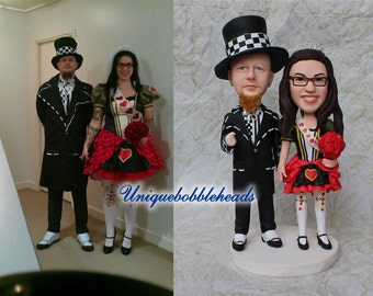 Personalized wedding cake topper customized made from you photos, clay figurines bride and groom cake topper look like you hand made