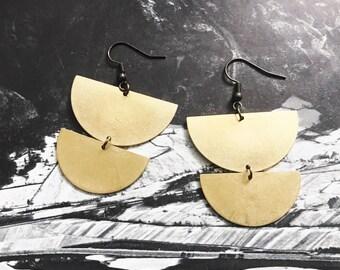 drop dangle earrings     Lunar brass earrings    simple everyday jewelry    brass earrings     half circles half moon