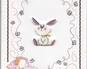 Hand pierced baby girl card with rabbit design