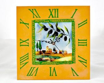 Wall Clock Greece/Wall clock olives/Wall clock for kitchen